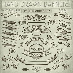 "Hand Drawn banners clipart: Digital clip art ""Hand Drawn Banners"" pack with banners, ribbons, words in hand drawn style"
