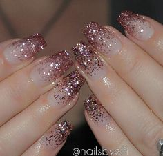 Top Awesome Coffin Nails Design 2019 You Must Try Awesome coffin nails are the hottest nails now. We collected of the most popular coffin nails. So, you don't have to spend too much energy. It's easy to find your favorite coffin nail design. Hot Nails, Pink Nails, Rose Gold Glitter Nails, Glitter Nail Art, Pink Sparkle Nails, Nails With Glitter Tips, Nude Sparkly Nails, Sparkle Acrylic Nails, Acrylic Nail Designs Glitter