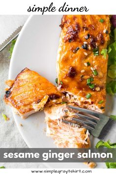 Sesame ginger salmon is a perfect weeknight dinner. Make the marinade in just minutes and the salmon can be fresh or frozen. Easy Salmon Recipes, Easy Dinner Recipes, Seafood Recipes, Holiday Recipes, Roasted Sesame Dressing, Recipes Using Fish, Ginger Salad Dressings, Ginger Salmon, Salmon Marinade