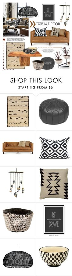 """Tribal Decor"" by helenevlacho ❤ liked on Polyvore featuring interior, interiors, interior design, home, home decor, interior decorating, Oriental Weavers, Massoud, WALL and Rizzy Home"