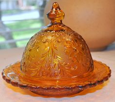 Tiara Indiana Glass Amber Sandwich Pattern Covered by TumptOver, $15.00  #retrokitchen #vintage