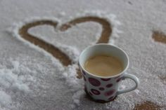 Coffee & heart in the snow