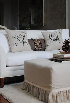Dear Lillie: Employee of the Month (Jason's September Post) and Silent Night, Holy Night Pillows Now Available Ottoman Cover, Ottoman Slipcover, Slipcovers, Ottoman Decor, Ottoman Table, Noel Christmas, Merry Little Christmas, All Things Christmas, Christmas Pillow