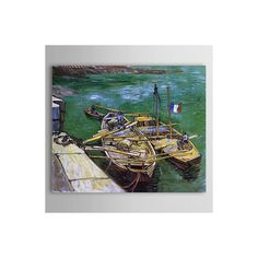 [$119.99] Wharf Scene Hand Painted Oil Painting A Quay with Men Unloading Sand Barges - Free Shipping