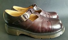 DR DOC MARTENS BURGUNDY MAROON LEATHER MARY JANE SHOES ENGLAND SIZE UK8 US10  #DrMartens #MaryJanes #Casual