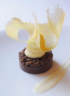 An incredible site for learning everything about luxury hotels and the French art of welcoming on this site: http://www.laurentdelporte.com/en/ Ganache au chocolat, orange et passion (Chef Hélène Darroze)
