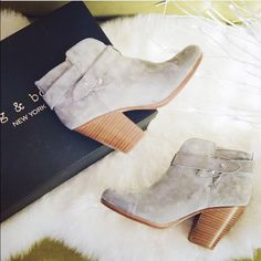 Rag and Bone Harrow Boots Rag and Bone Harrow suede booties in light gray, US size 7, comfortable 3 1/2 inch stacked heel rag & bone Shoes Ankle Boots & Booties
