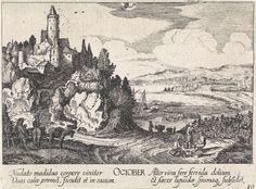 Jan van de Velde (II) | Oktober, Jan van de Velde (II), Anonymous, Johann Tscherning, 1684 - 1729 | Landschap met een kasteel op een berg aan een meer met rechts boeren met vaten bij wijnranken; een gezicht op Palermo op Sicilië, voorstellende de maand oktober. Bovenaan het bij deze maand behorende sterrenbeeld: schorpioen. Tiende prent uit een serie van twaalf.
