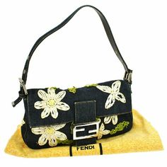 """Auth Embroidery Mamma Bucket Hand Bag BBG2529 """"It is 100% Authentic Item - Previously Owned but Good Condition,Please Check all the Photos!  Material: Denim, Leather, Color : Navy, Beige, Green ,?Inside and pocket is dirt.? ,,Smell of material.  ,  No Trade."""" FENDI Bags Satchels"""