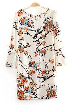 Multicolor Flowers Print Long Sleeve Wrap Chiffon Dress