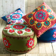 Kashmiri Embroidered Pouf These exquisitely beautiful poufs and cushions are hand embroidered in Kashmir. The vibrant colours and detailed designs make these an irresistible addition to any home. Pillow Cover Design, Pillow Covers, Cushion Covers, Folklore, Spring Fair, Spring Time, Ethnic Decor, Shabby, Embroidered Cushions