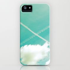 Scottish sky 2594 iPhone & iPod Case by Cally Creates   Society6. I always smile when I see crossed contrails in the sky reminding me of the Scottish flag, especially when I was young and living 5000 miles away from my home country.  (blue green - sky - clouds - saltire - space - freedom - float - soft - pastel - airy - cross - X - contrails)  www.callycreates.blogspot.co.uk www.facebook.com/cally.creates/