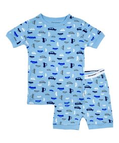 Another great find on #zulily! Blue Car Short-Sleeve Pajama Set - Infant & Boys by Blue Banana #zulilyfinds