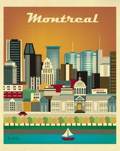 Voyage Canada, Of Montreal, Cities, Skyline Art, Vintage Travel Posters, Canada Travel, Illustration, Painting, Art Prints