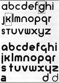 bayer_universal Herbert Bayer's 1925 experimental universal typeface combined upper and lowercase characters into a single character set.