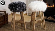 DIY - Fell-Hocker selber machen   Sitzbezug aus Fell nähen   TIPPS & TRI...