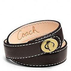 Gifts Under 50: Coach Leather Double Wrap Turnlock Bracelet