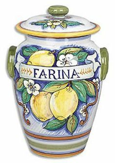 """Handmade Bianco Fresco Farina Canister From Italy by Italian Pottery Outlet. $170.00. 7""""Dx10.5""""H. Hand-made and hand-painted in Deruta, Italy. 100% food safe. Dishwasher safe. Not recommended for microwave or conventional oven use. This beautiful flour canister will add a splash of beauty and elegance to your kitchen décor. 7"""" x 10.5"""" height.. Save 15%!"""
