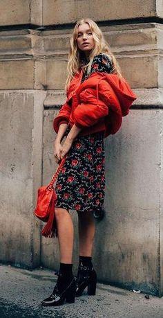printed dress. puffa jacket.
