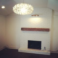White Brick Fireplace - Wood Block Mantle (I did this in my living ...