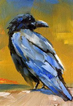 """Daily Paintworks - """"Raven at Dusk"""" - Original Fine Art for Sale - © Gary Bruton Choucas Des Tours, Crow Painting, Raven Bird, Crow Art, Crows Ravens, Bird Artwork, Animal Paintings, Bird Paintings, Fine Art Gallery"""