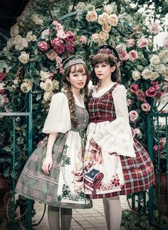 Vintage Dirndl Midi Dress Casual Lolita Women Dress Apron Spring Autumn Dress (DR00240)