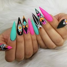 If you like bold and avant-garde nail designs theres nothing better than stiletto nails. Stiletto nails very fashionable and creative. We collected 30 trend for stiletto nail designs for you; Best Acrylic Nails, Acrylic Nail Designs, Nail Art Designs, Nail Swag, Dope Nails, Fun Nails, Gorgeous Nails, Pretty Nails, Nails Polish