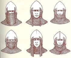 Chain mail aventail camail 14th knight armor bascinet helmet