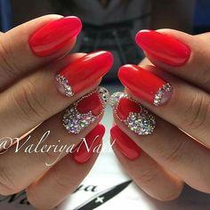 @pelikh_ nail idea Fingernail Designs, Red Nail Designs, Gem Nails, Glitter Nails, Cute Nails, Pretty Nails, Mickey Nails, Diamond Nail Art, Bridal Nail Art