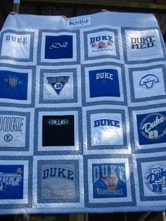 too many Duke t-shirts hanging around. I don't know how to quilt but this would be awesome! T-Shirt Custom Trends Quilting Projects, Quilting Designs, Sewing Projects, Sewing Ideas, Quilting Tips, Sewing Hacks, Sewing Crafts, Panel Quilts, Quilt Blocks