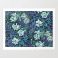 """White roses, blue leaves"" hand drawn floral pattern Art Print by Clipso-Callipso 