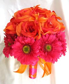 Bridal bouquet ORANGE FUCHSIA DAISY wedding by Rosesanddreams,