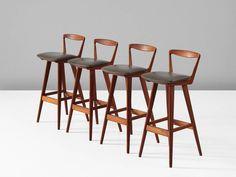 Rosengren Hansen Set of Four Teak Bar Stools for Brande Møbelfabrik 2