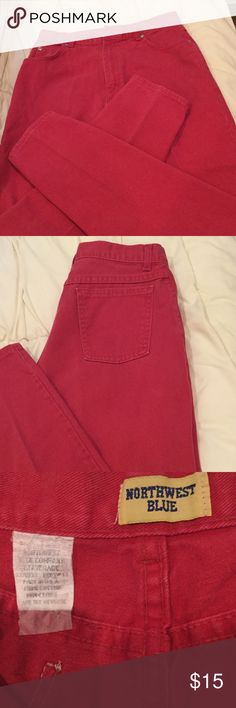 Vintage Northwest Blue mom jeans💕 Vintage mom jeans in red.  Material is 100 percent cotton.  Tag is size  12 average.  Waist measures 28 inches, leg inseam is 29 inches (not today's sz 12).  More like an 8.  No visible wear except some slight fading. Northwest Blue Jeans Straight Leg
