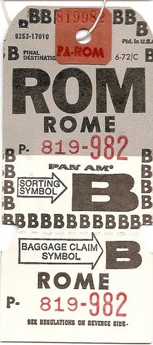 Pan Am - ROM Rome Baggage Tag