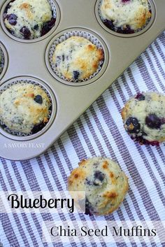 Make these light and fresh blueberry chia seed muffins for breakfast this weekend! The chia seeds add a fun texture and the blueberries are the perfect amount of sweetness for this breakfast treat. Zucchini Muffins, Muffins Blueberry, Vegan Muffins, Mini Muffins, Breakfast On The Go, Best Breakfast, Breakfast Recipes, Breakfast Muffins, Breakfast Ideas