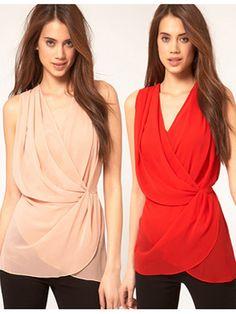 Women Chiffon Deep V Neck Wrapped Cross Waist Fold Sleeveless Blouse
