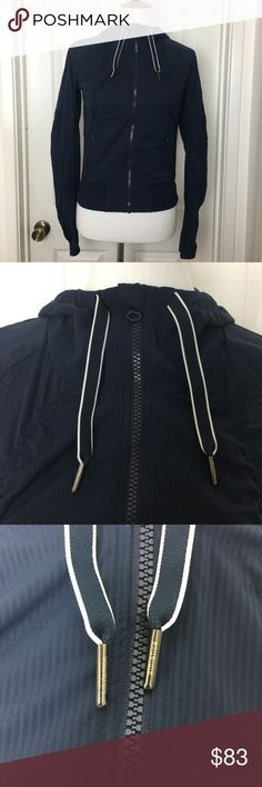[ Lululemon ] Athletic Zip UpHoody Jacket Lululemon athletic zip up hoody jacket. Navy blue. Size 4. Soft, nylon & spandex blend lining for extra warmth. 2 front zip up pockets. Pre-loved. lululemon athletica Jackets & Coats