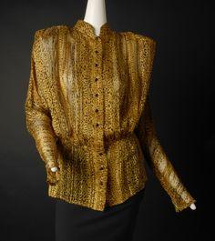 NINA RICCI-1980s Printed Silk Blouse, Size-12