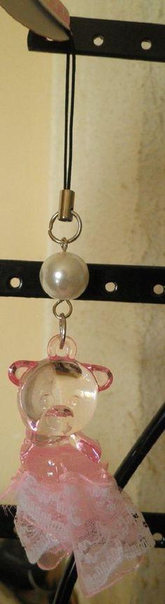 bijou de téléphone portable nounours ourson rose tutu dentelle-perle-noël