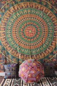 Hippie Tapestry  mandala tapestry Wall Hanging  by craftozone, $17.99