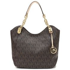 Michael By Michael Kors Brown Signature Coated Canvas Lilly Tote Handbag