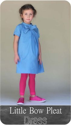 Little Bow Pleat Dress PDF Sewing Pattern (Go To Patterns) | Girls Sizes 18 mos - 8 yrs