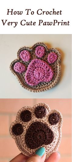 How to Crochet a Paw - Crafting Time Crochet Gifts, Cute Crochet, Crochet Baby, Knit Crochet, Baby Knitting, Appliques Au Crochet, Crochet Motif, Crochet Stitches, Knitting Projects