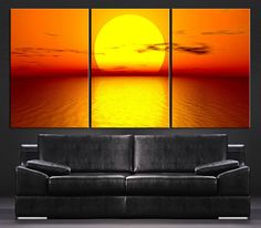 Large Wall Art Canvas Panels - Sunset on Sea Canvas Print - Contemporary 3 Panel Triptych Seascape XLarge Wall Art