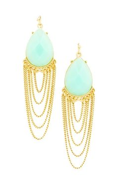 Draped chain earrings in Mint