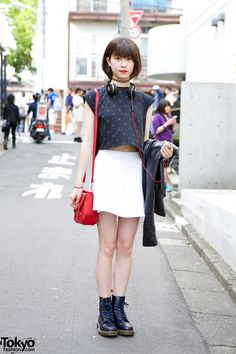 Spotted in Harajuku. Tokyo in early June 2015:  Crop Top, American Apparel Skirt & Dr. Martens  @streetstyle