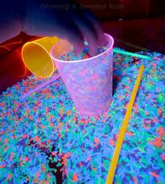 Glowing Rice Sensory Play ~ Growing A Jeweled Rose Sensory Bins, Sensory Activities, Sensory Play, Learning Activities, Kids Learning, Activities For Kids, Crafts To Do, Diy Crafts For Kids, Projects For Kids