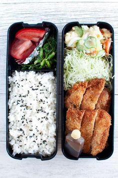 Bento Box Tonkatsu Bento 2019 The Japanese Bento Box is the ultimate meal prep consumed by millions of Japanese every day. Todays bento recipe is Tonkatsu Bento (pork schnitzel bento). The post Bento Box Tonkatsu Bento 2019 appeared first on Lunch Diy. Bento Recipes, Healthy Recipes, Lunch Box Recipes, Vegetarian Recipes, Dinner Recipes, Clean Eating Snacks, Healthy Eating, Healthy Food, Japanese Bento Box
