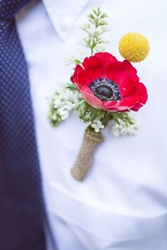 Be bright! Love this anemone and billy ball combo boutonniere.
